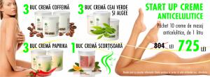 OFERTA START UP – Crema Cofeina, Crema Alge-Ceai Verde, Crema Paprika, Crema Scortisoara